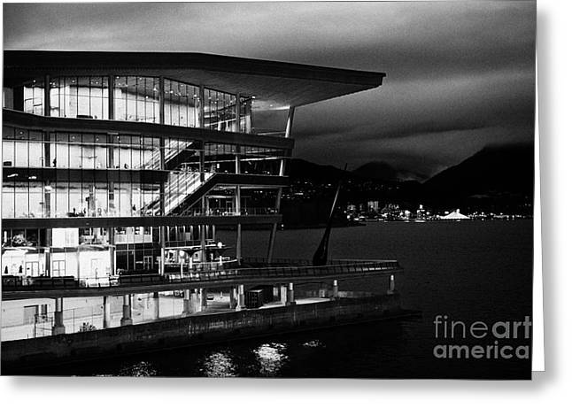 late evening at the Vancouver convention centre west building on burrard inlet BC Canada Greeting Card by Joe Fox