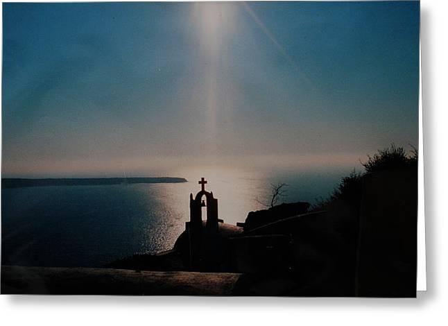 Late Evening Meditation On Santorini Island Greece Greeting Card