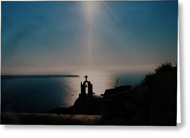 Late Evening Meditation On Santorini Island Greece Greeting Card