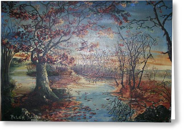 Greeting Card featuring the painting Late Fall by Peter Suhocke