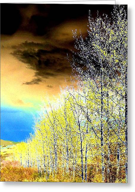 Late Fall Tree Line Greeting Card by Will Borden
