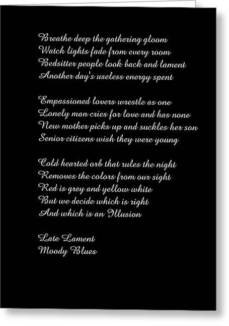 Late Lament Greeting Card by Rob Cruise