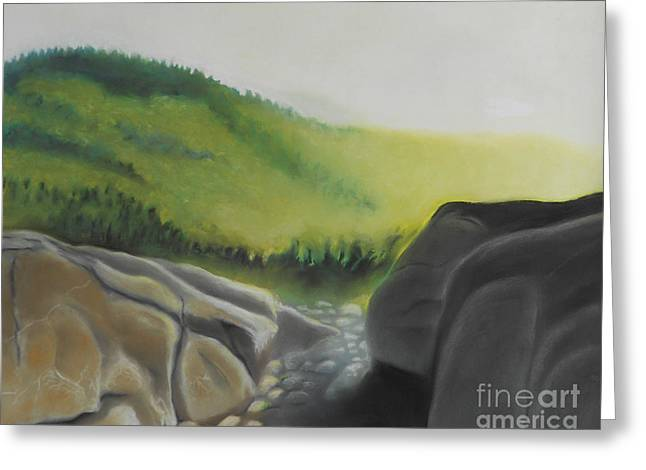 Greeting Card featuring the painting Late Light On Cascade by Robert Coppen