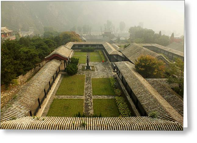 Greeting Card featuring the photograph Late Morning Fog At The Great Wall  by Lucinda Walter