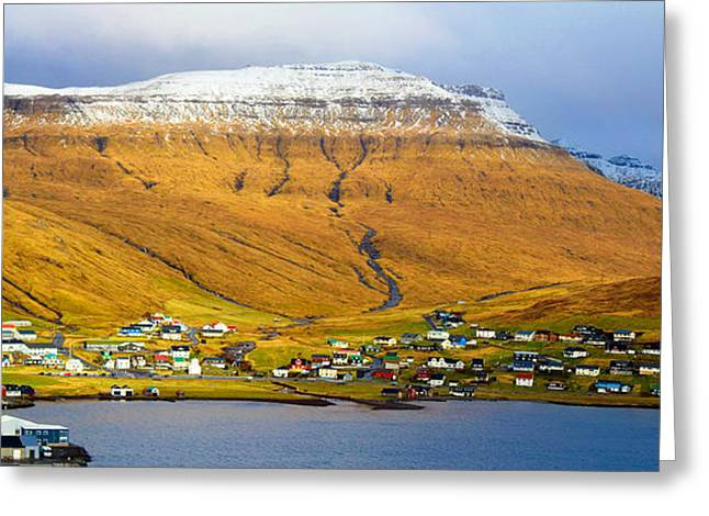 Late Spring In Faroe Islands Panorama Greeting Card