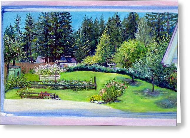 Late Spring Yard With Redwoods And Apple Trees Greeting Card by Asha Carolyn Young