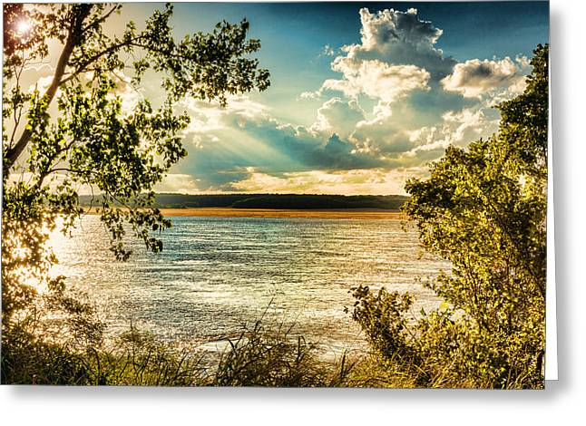 Late Summer Afternoon On The Mississippi Greeting Card by Jon Woodhams