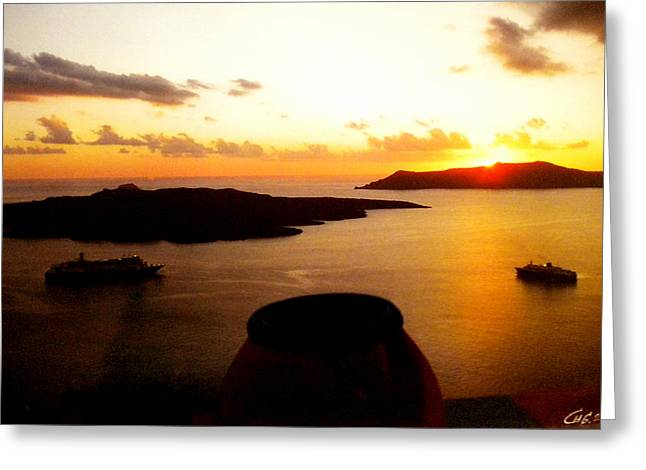 Late Sunset Santorini  Island Greece Greeting Card