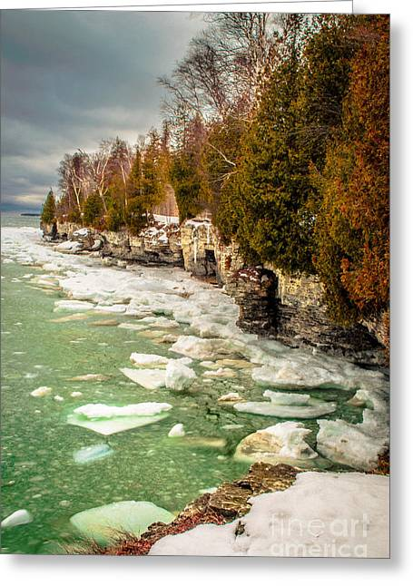 Greeting Card featuring the photograph Late Winter At Cave Point by Mark David Zahn Photography