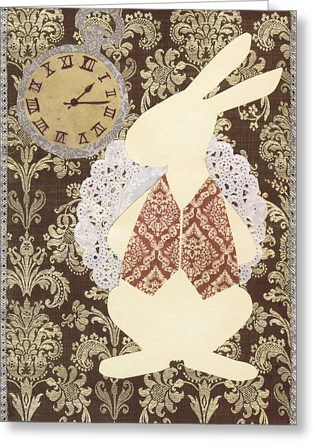 Late? With The White Rabbit Greeting Card by Savannah Bertozzi