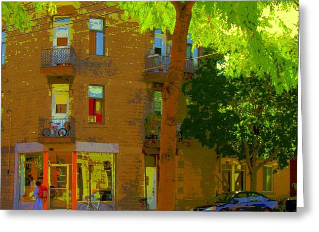 L'atelier Boutique Rue Clark And Fairmount Art Of Montreal Street Scene In Summer By Carole Spandau  Greeting Card by Carole Spandau