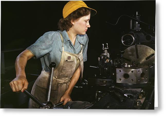 Lathe Operator Machining Parts Greeting Card by Stocktrek Images