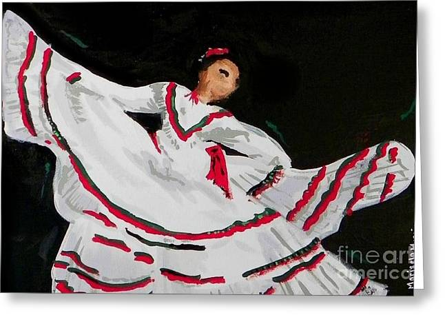 Greeting Card featuring the painting Latin Dancer by Marisela Mungia