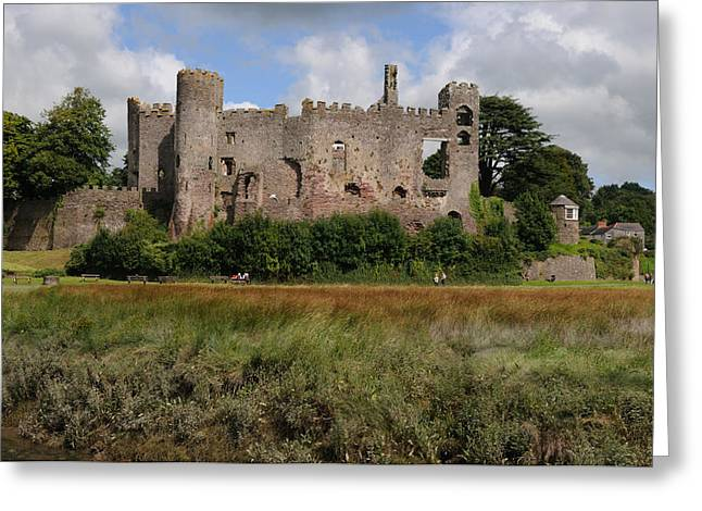 Laugharne Castle Greeting Card by Jeremy Voisey