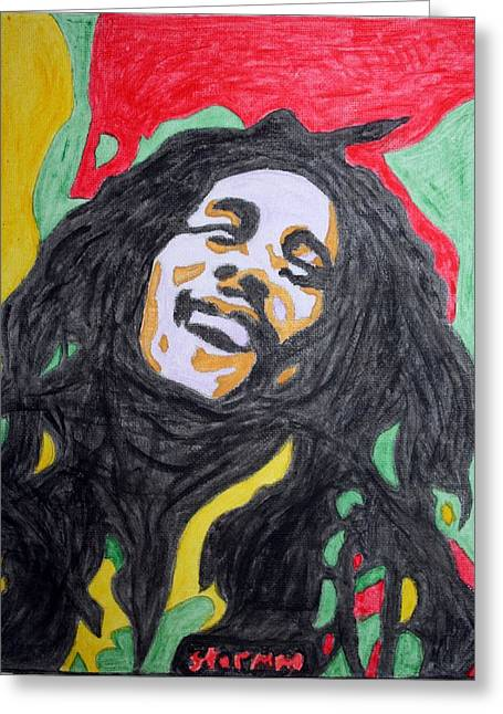 Greeting Card featuring the painting Happy Bob Marley  by Stormm Bradshaw