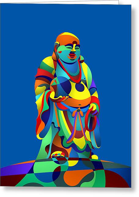 Laughing Buddha Blue Greeting Card