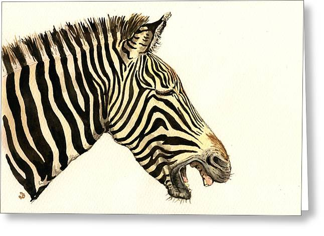 Laughing Zebra Greeting Card by Juan  Bosco