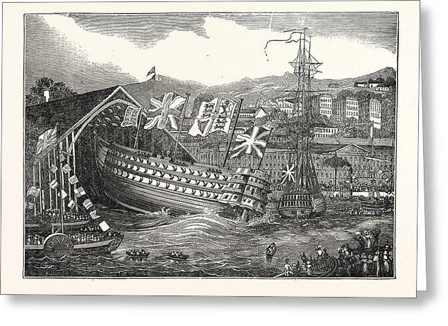 Launch Of His Majestys Ship Waterloo, At Chatham,  Uk Greeting Card by English School