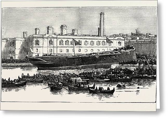 Launch Of H.m.s. Melita  At Malta The First Ironclad Greeting Card