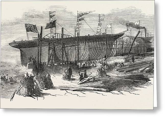 Launch Of The Marion Macintyre, And Part Of The Ship Iron Greeting Card by Jordanian School