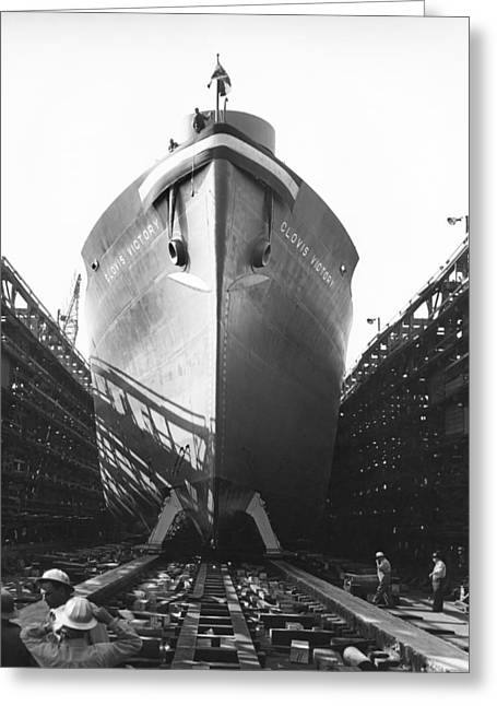 Launching Of Wwii Victory Ship Greeting Card by California Shipbuilding Corporat