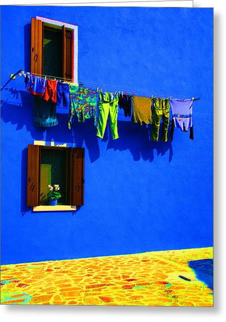 Laundry Between The Windows Greeting Card by Donna Corless