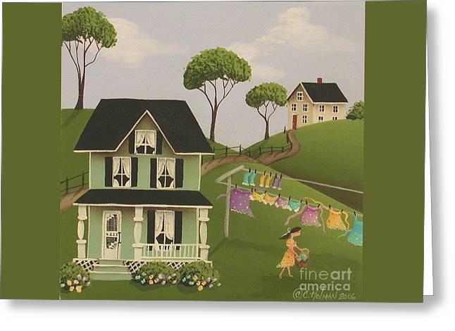 Laundry Day Greeting Card by Catherine Holman