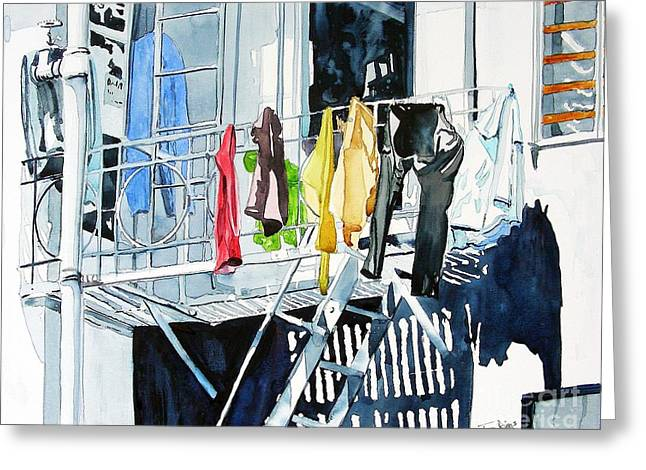 Laundry Day In San Francisco Greeting Card by Tom Riggs