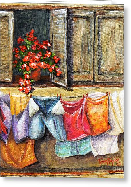 Greeting Card featuring the painting Laundry Day In The Villa by Terry Taylor