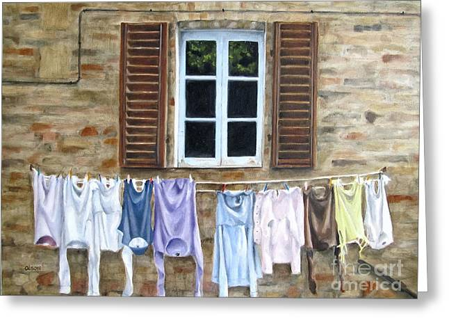 Laundry Day In Tuscany Greeting Card by Karen Olson