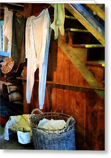 Laundry Greeting Cards - Laundry Day Greeting Card by Susan Savad