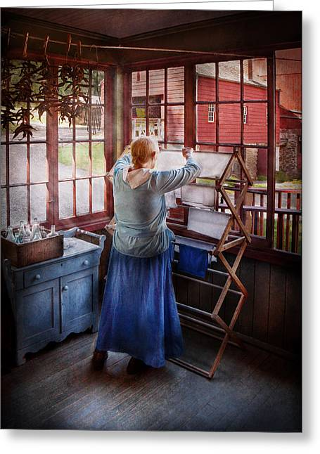 Housekeeping Greeting Cards - Laundry - Miss Lady Blue  Greeting Card by Mike Savad