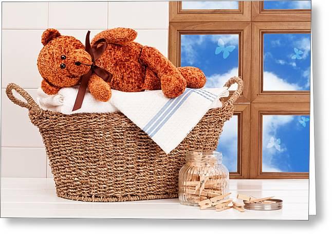 Laundry With Teddy Greeting Card by Amanda Elwell