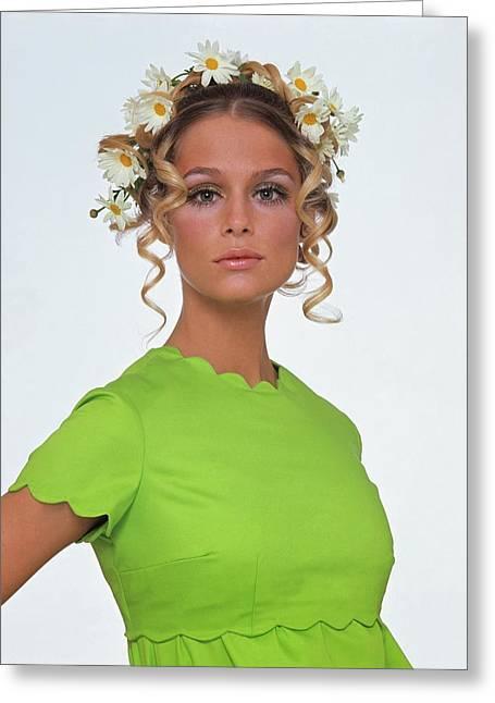 Laura Hutton Wearing A Daisy Wreath Greeting Card by Gianni Penati