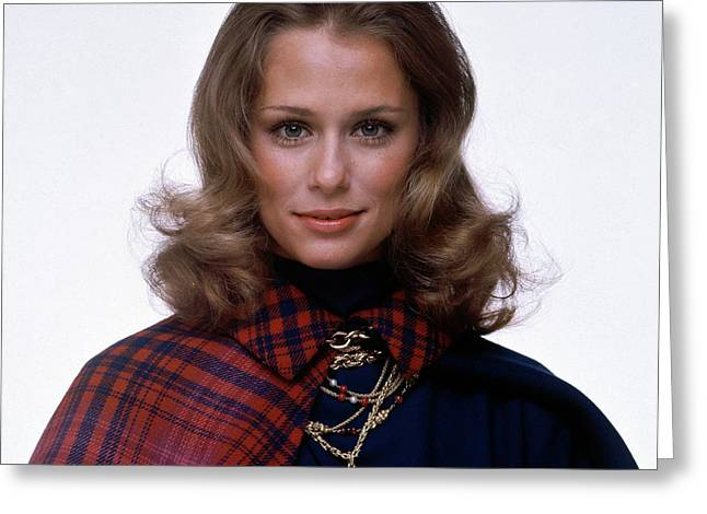 Laura Hutton Wearing Van Cleef & Arpel Necklaces Greeting Card by Gianni Penati
