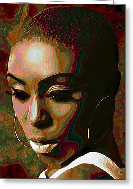 Laura Mvula Greeting Card by  Fli Art