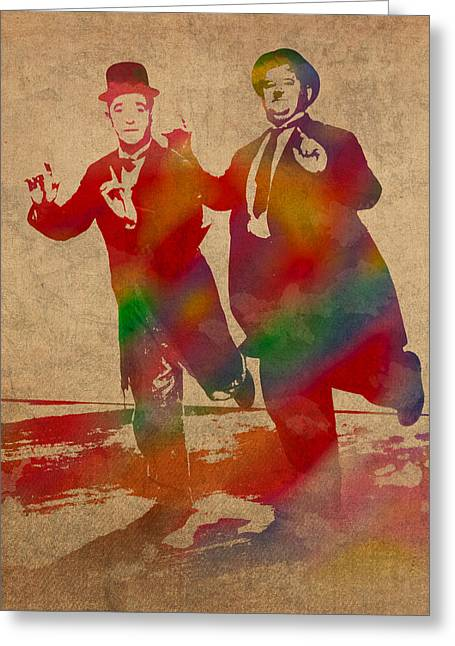 Laurel And Hardy Classic Comedians Watercolor Portrait On Worn Distressed Canvas Greeting Card