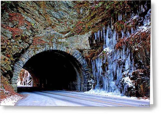 Laurel Creek Road Tunnel Greeting Card by Paul Mashburn