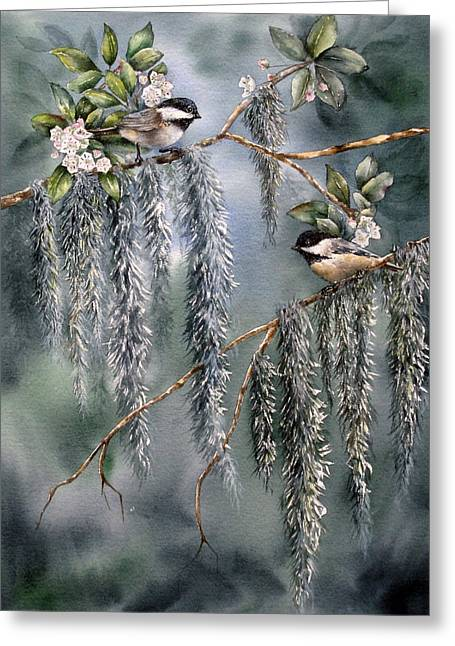 Greeting Card featuring the painting Laurel Meets Moss by Mary McCullah