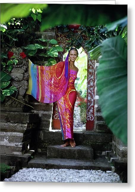 Lauren Hutton Wearing A Silk Dress Greeting Card