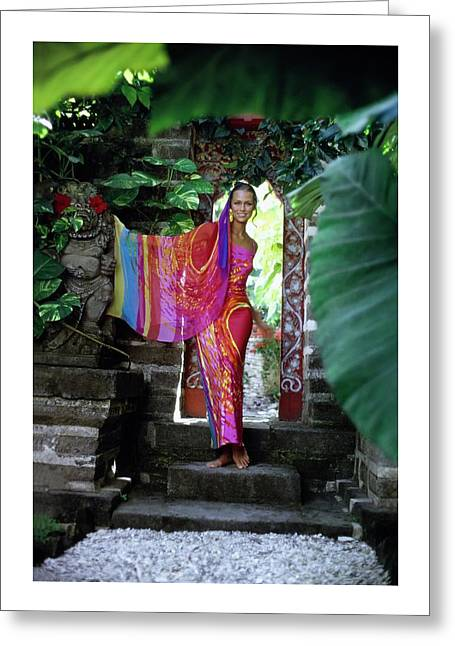 Lauren Hutton Wearing A Silk Dress Greeting Card