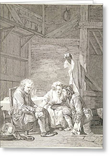 Laurent Cars French, 1699-1771 After Jean-baptiste Greuze Greeting Card