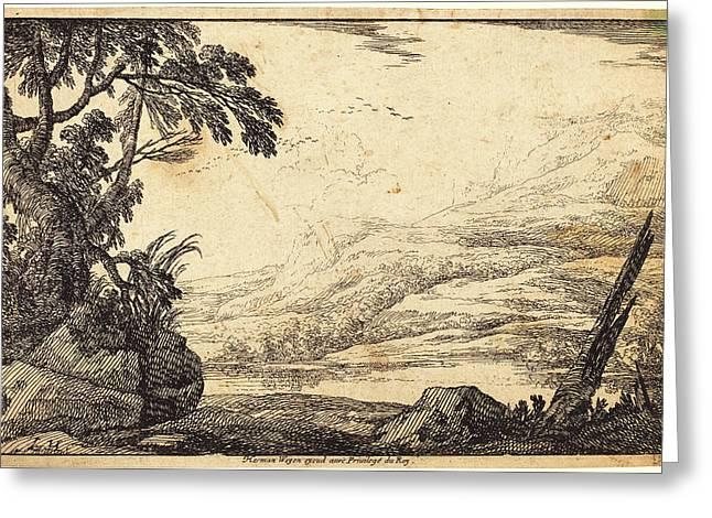 Laurent De La Hyre, French 1606-1656, Mountainous Landscape Greeting Card by Litz Collection