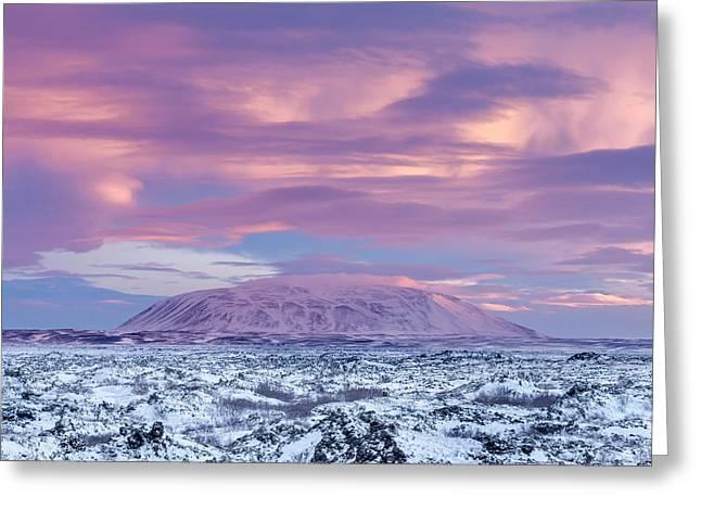 Lava Field Dimmuborgir, Near Lake Greeting Card by Martin Zwick