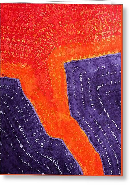 Lava Flow Original Painting Greeting Card