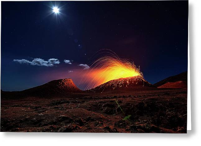 Lava Flow With The Moon Greeting Card