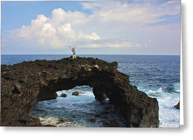 Lava Sea Arch In Hawaii Greeting Card by Venetia Featherstone-Witty
