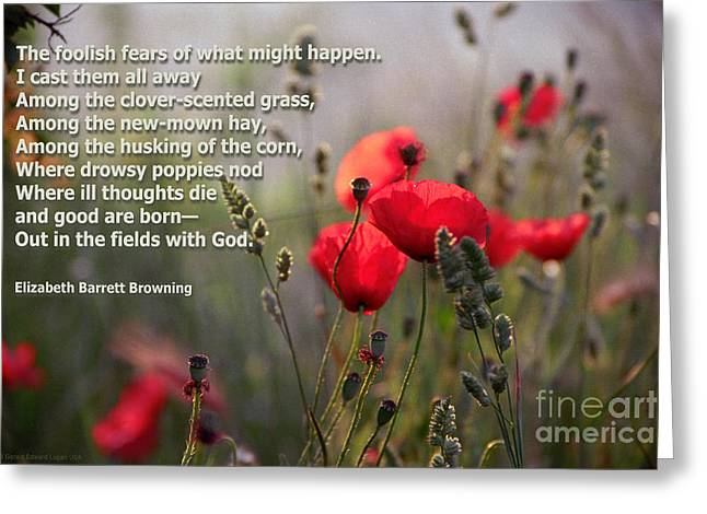 Lavender And Poppies With Poetry Greeting Card