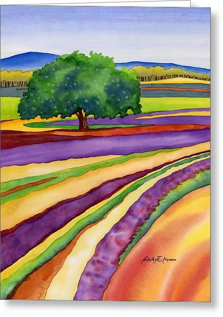 Lavender Field Greeting Card by Hailey E Herrera