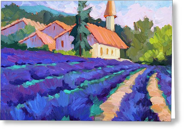 Lavender Field In St. Columne Greeting Card by Diane McClary